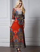 cheap Women's Blouses-Women's Plus Size Cotton Jalabiya Dress Print High Rise Maxi / Summer