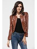 זול עור & עור מעילים עור-בגדי ריקוד נשים שחור חום L XL XXL ז'קטים מעור וינטאג' / סגנון רחוב אחיד עומד