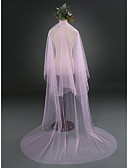 cheap Wedding Veils-Two-tier Cut Edge Wedding Veil Cathedral Veils 53 Ruched Tulle