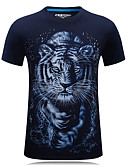 cheap Men's Tees & Tank Tops-Men's Sports Active Plus Size Cotton T-shirt - Animal Tiger, Print Round Neck / Short Sleeve