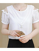 cheap Women's Blouses-Women's Going out Cute Cotton Blouse - Solid Colored, Lace Cut Out