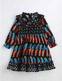 preiswerte Mode für Mädchen-Mädchen Kleid Baumwolle Sommer 3/4 Ärmel Blumig Schwarz
