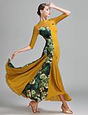저렴한 볼룸 댄스 웨어-볼륨 댄스 여성용 튤 라이크라 아이스 실크 패턴 / 프린트 스플리싱 반 소매 내츄럴 드레스