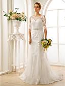 preiswerte Hochzeitskleider-A-Linie Illusionsausschnitt Hof Schleppe Spitze / Tüll Made-To-Mode Brautkleider mit Perlenstickerei / Applikationen / Knöpfe durch LAN