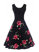 cheap Women's Dresses-Women's Work Holiday Vintage Cotton Sheath Swing Dress - Floral High Rise