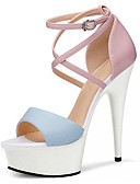 cheap Wedding Veils-Women's Shoes PU(Polyurethane) Summer Formal Shoes Sandals Stiletto Heel Peep Toe Crystal / Buckle Light Yellow / Blue / Party & Evening