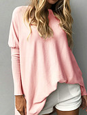 cheap Women's Sweaters-Women's Long Sleeves Long Pullover - Solid Colored Crew Neck