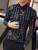 cheap Men's Shirts-Men's Club Punk & Gothic Street chic Cotton Shirt - Print Color Block