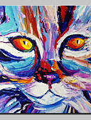 abordables Vestidos de Madrina-Pintura al óleo pintada a colgar Pintada a mano - Animales Abstracto Modern Lona