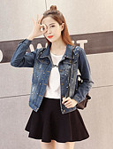 cheap Women's Denim Jackets-Women's Going out Plus Size Cotton Denim Jacket - Solid Colored, Pure Color