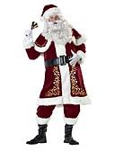 זול הינומות חתונה-חליפות סנטה סנטה קלאוס תחפושות בגדי ריקוד גברים מבוגרים חג המולד פסטיבל / חג תחפושות ליל כל הקדושים תלבושות אדום וינטאג'