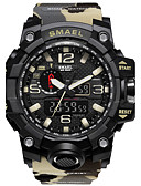 cheap Sport Watches-SMAEL Men's Sport Watch Digital 50 m Water Resistant / Water Proof Stopwatch Noctilucent PU Band Analog-Digital Black / Red - Red / Blue Khaki Camouflage Green Two Years Battery Life