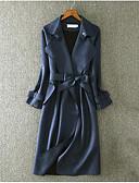 abordables Blazers y Chaquetas de Mujer-Mujer Simple Gabardina Cuello Camisero - Estampado