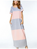 cheap Women's Dresses-Women's Going out Cotton Jalabiya Dress - Striped Maxi