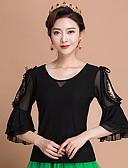 cheap Wedding Veils-Ballroom Dance Tops Women's Training Ice Silk Ruffles 3/4 Length Sleeves Top