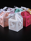 cheap Wedding Slips-Cubic Pearl Paper Favor Holder with Ribbons Favor Boxes - 50
