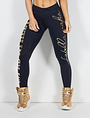 abordables Leggings para Mujer-Mujer Estampado Legging - Letra, Estampado Media cintura