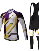 cheap Women's Dresses-Men's Long Sleeve Cycling Jersey with Bib Tights - Yellow / Black Bike Clothing Suits, 3D Pad, Quick Dry, Sweat-wicking Polyester Lycra