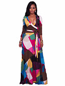 cheap Women's Dresses-Women's Beach Boho Swing Dress - Geometric, Print High Rise Maxi Deep V