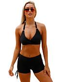 رخيصةأون لانجيري للنساء-أسود رمادي فوشيا صلب خصر عالي ملابس السباحة ثلاثة قطع صلب نساء