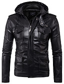 cheap Men's Jackets & Coats-Men's Leather Jacket - Solid Colored Hooded
