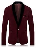 ieftine Blazer & Costume de Bărbați-Bărbați Petrecere / Zilnic / Ieșire Toamnă / Iarnă Mărime Plus Size Regular Blazer, Mată / Bloc Culoare Rever Clasic Manșon Lung Bumbac / Poliester Albastru piscină / Roșu Vin XXL / XXXL / XXXXL