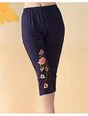 cheap Women's Nightwear-Women's Daily Plus Size Basic Legging - Solid Colored, Embroidered Mid Waist / Spring / Summer / Fall / Embroidery / Slim