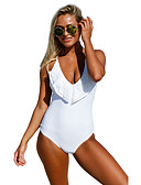 رخيصةأون لانجيري للنساء-أبيض أسود صلب ملابس السباحة قعطة واحدة سادة نساء