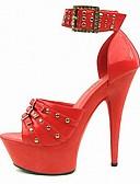 povoljno Maxi haljine-Žene Cipele na petu Stiletto potpetica Peep Toe Zakovica / Kopča PU svečane cipele Ljeto Crn / Crvena / Zabava i večer / Zabava i večer
