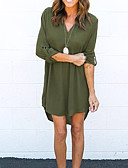 cheap Women's Dresses-Women's Cotton Loose Dress - Solid Colored V Neck / Summer