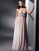 cheap Evening Dresses-Sheath / Column V Neck / Straps Floor Length Chiffon Open Back / Celebrity Style Formal Evening Dress with Draping / Pleats by TS Couture®
