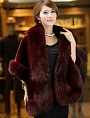 cheap Women's Fur Coats-Women's Faux Fur Fur Coat - Solid Colored Square Neck