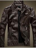 olcso Férfi dzsekik és kabátok-Vintage Állógallér Férfi Kožnate jakne - Egyszínű / Csíkos, Nyomtatott Len / Hosszú ujj