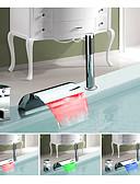 abordables Vestidos de cóctel-Grifo de bañera - Color Cambiante / Europeo Cromo Muy Difundido Válvula Cerámica