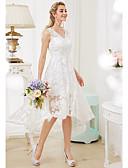 olcso Menyasszonyi ruhák-Hercegnő V-alakú Aszimmetrikus Mindenhol csipke Made-to-measure esküvői ruhák val vel Rátétek által LAN TING BRIDE® / Átlátszó