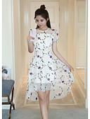 זול שמלות נשים-לבן א-סימטרי פרחוני - שמלה נדן בגדי ריקוד נשים