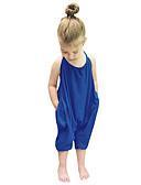 tanie Zestawy ubrań dla dziewczynek-Brzdąc Dla dziewczynek Solidne kolory Bez rękawów Regularny Bawełna Komplet odzieży Niebieski 100