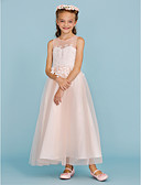 cheap Junior Bridesmaid Dresses-A-Line / Princess Ankle Length Flower Girl Dress - Lace / Tulle Sleeveless Jewel Neck with Appliques / Sash / Ribbon by LAN TING BRIDE®