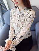 abordables Pantalones para Mujer-Mujer Trabajo Blusa, Escote Chino Floral / Primavera / Otoño