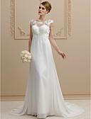 olcso Menyasszonyi ruhák-Szűk szabású Scoop nyak Udvari uszály Sifon / Csipke Made-to-measure esküvői ruhák val vel Csokor / Rátétek által LAN TING BRIDE® / Átlátszó / Gyönyörű fekete