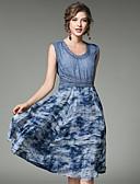 tanie Suknie i sukienki damskie-Damskie Wyjściowe Moda miejska Jedwab Swing Sukienka - Kolorowy blok, Nadruk Do kolan