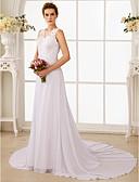 levne Svatební šaty-A-Linie Do V Velmi dlouhá vlečka Šifón / Krajka Svatební šaty vyrobené na míru s Korálky / Aplikace podle LAN TING BRIDE® / Open Back