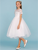 זול שמלות לילדות פרחים-גזרת A / נסיכה באורך  הברך שמלה לנערת הפרחים - תחרה / טול שרוולים קצרים צווארון עגול קצר עם קפלים על ידי LAN TING BRIDE®
