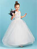 cheap Flower Girl Dresses-A-Line / Princess Floor Length Flower Girl Dress - Lace / Tulle Sleeveless Jewel Neck with Sashes / Ribbons by LAN TING BRIDE®