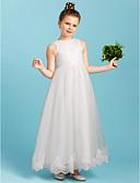 זול טישרטים לגופיות לגברים-נסיכה באורך הקרסול שמלה לנערת הפרחים - תחרה / טול ללא שרוולים צווארון עגול קצר עם פפיון(ים) על ידי LAN TING BRIDE®