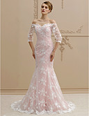 cheap Wedding Dresses-Mermaid / Trumpet Off Shoulder Sweep / Brush Train Lace Made-To-Measure Wedding Dresses with Buttons by LAN TING BRIDE® / Illusion Sleeve