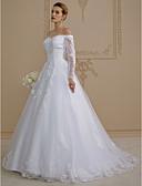 זול שמלות כלה-גזרת A סירה מתחת לכתפיים שובל סוויפ \ בראש תחרה מעל טול שמלות חתונה עם אפליקציות על ידי LAN TING BRIDE® / אשליה / שקוף