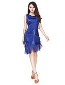 cheap Latin Dance Wear-Latin Dance Dresses Women's Performance Spandex Paillette Tassel Sleeveless Natural Dress