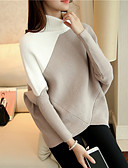 cheap Women's Sweaters-Women's Daily Color Block Long Sleeve Short Pullover, Turtleneck Spring / Fall Cotton Black / Wine / Khaki One-Size