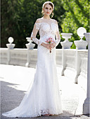 cheap Wedding Dresses-Mermaid / Trumpet Plunging Neck Sweep / Brush Train Lace / Satin Made-To-Meature Wedding Dresses with Appliques by LAN TING BRIDE®